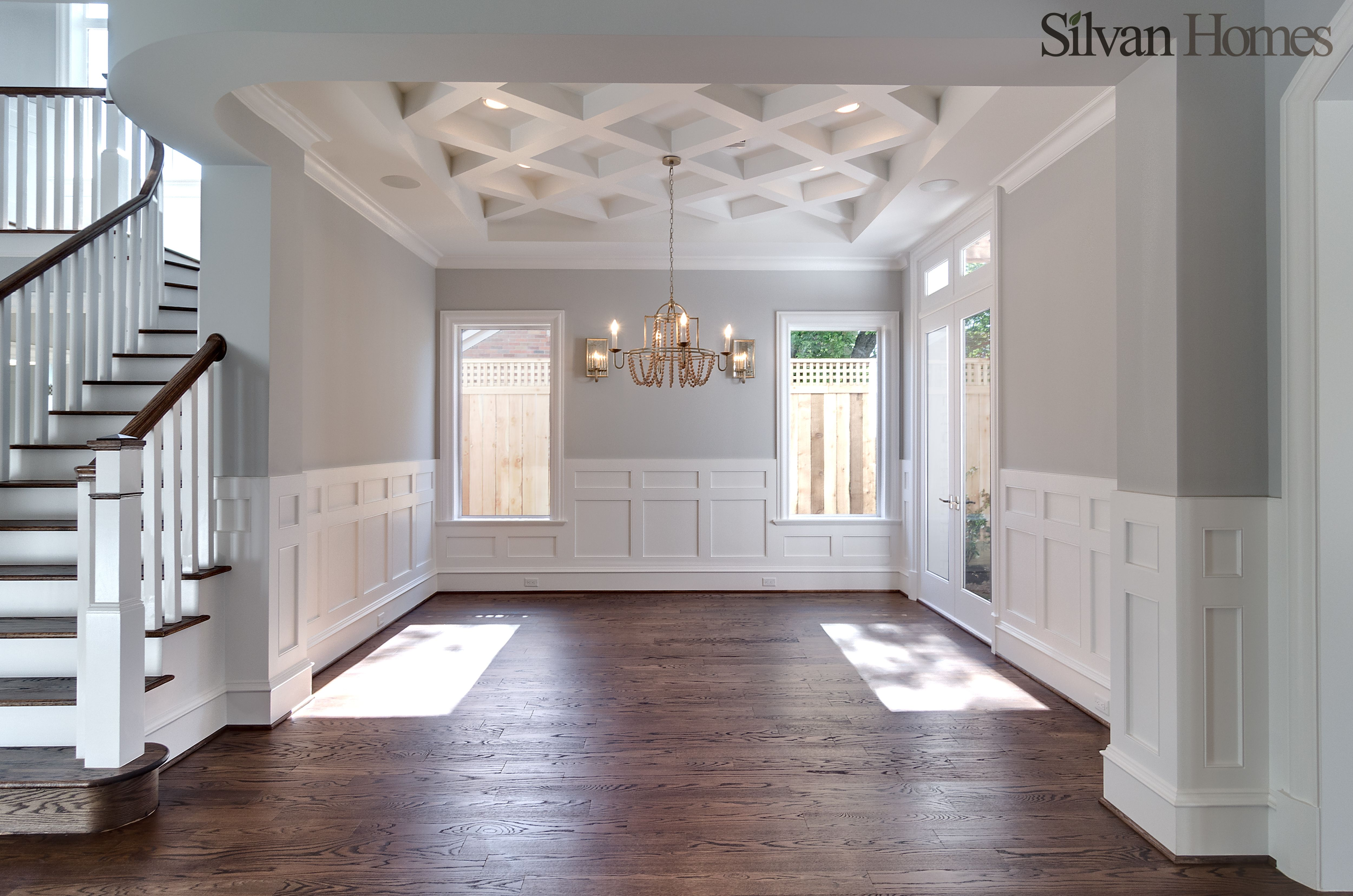 traditional dining room, with detailed ceiling and ...