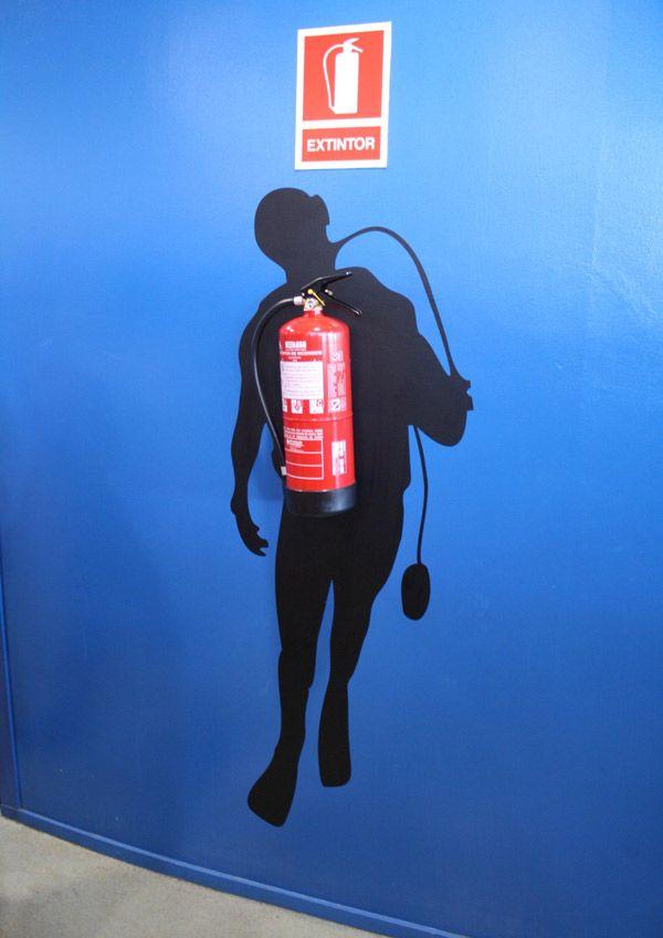 Fire extinguisher decoration found at Aquarium Barcelona