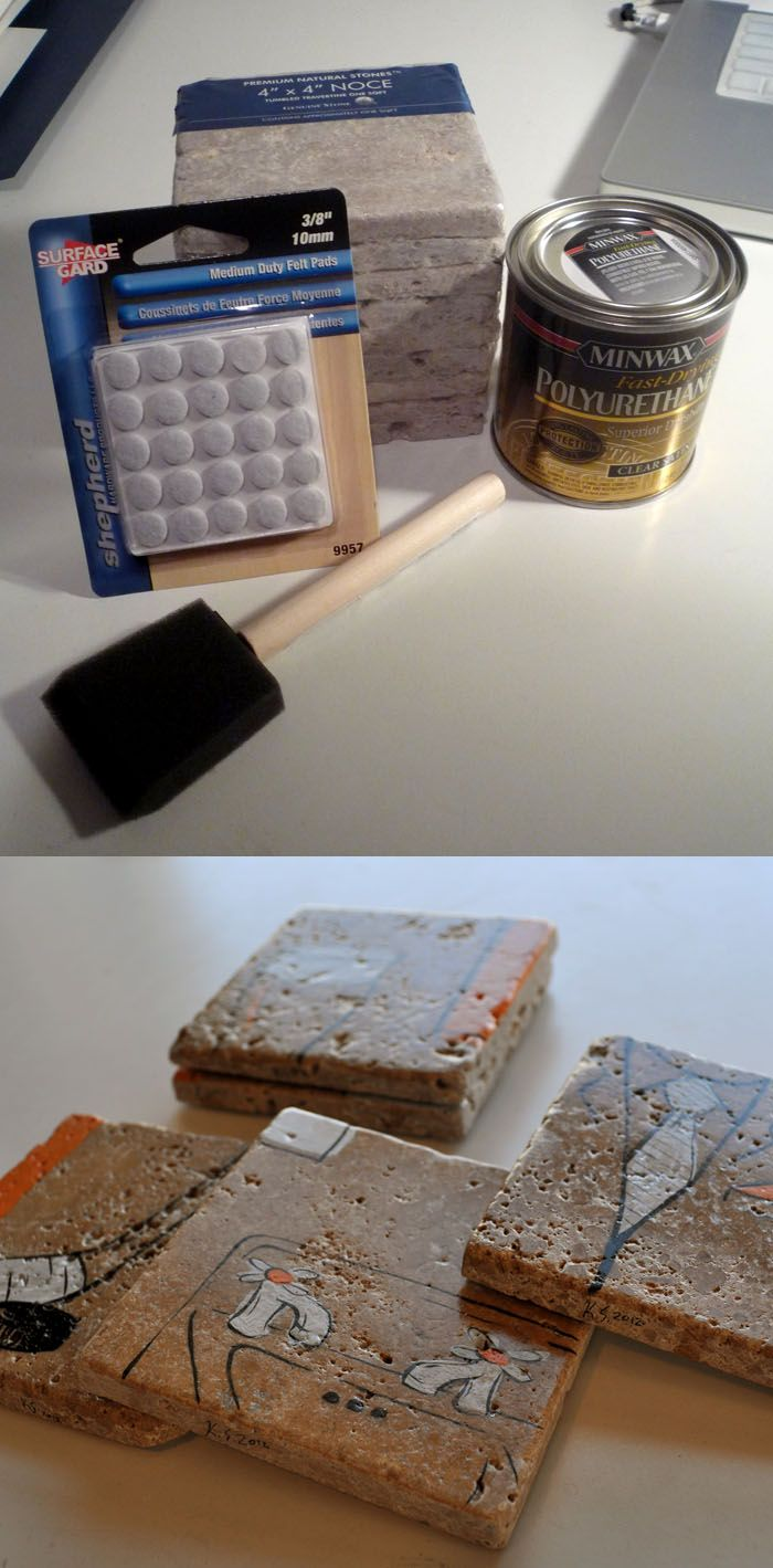 Diy Coasters Less Than A Dollar Apiece 4x4 Travertine Tiles Home Depot Fuse Box From Paint On Them With Regular Ink And Or Acrylic Coat Polyurthane Stick Felt Pads To