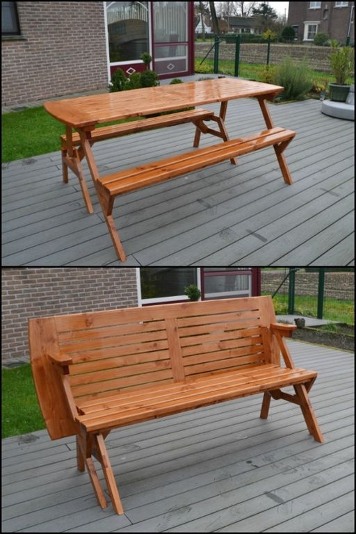 Build your own convertible picnic table bench! | Parcela, Muebles ...