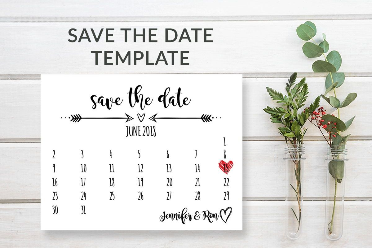 rustic calendar save the date template  printable wedding