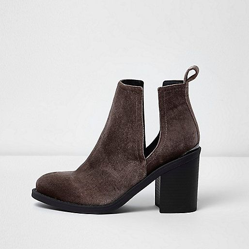 Brown velvet cut out boots - boots - shoes / boots - women