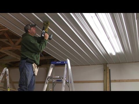 Pole Barn Menard S Pro Rib Steel Ceiling Install With Panellift Drywall Lift Youtube Metal Siding Installation Installing Siding Pole Barn