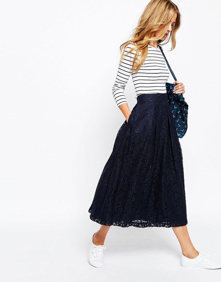 7d554ad0c9ac67 Comment porter la jupe midi avec style | Fashion | Jupe midi, Jupe ...