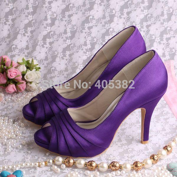 Wedopus MW1491 Women Purple Satin High Heel Bridal Wedding Shoes Peep Toe  in Summer