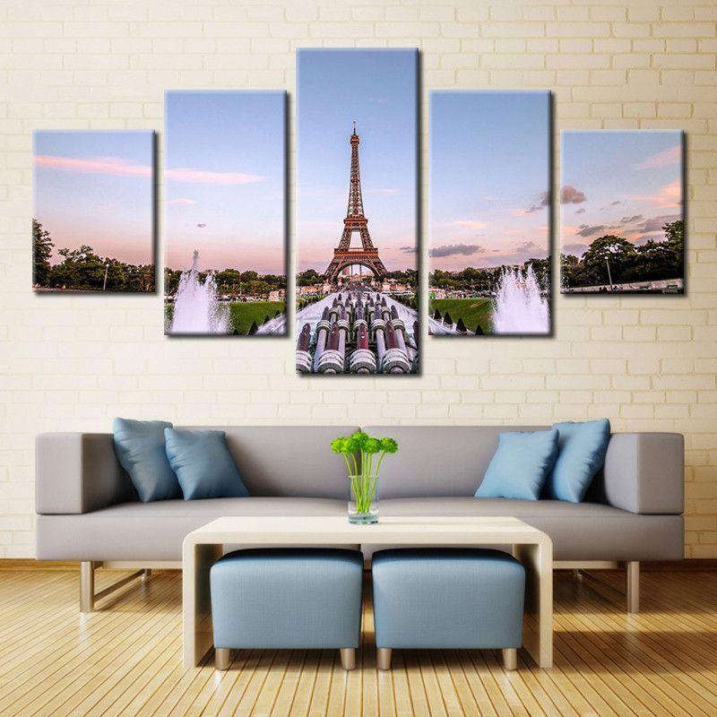 Eiffel Tower 5 Piece Canvas 5 Panel Wall Art Poster Wall