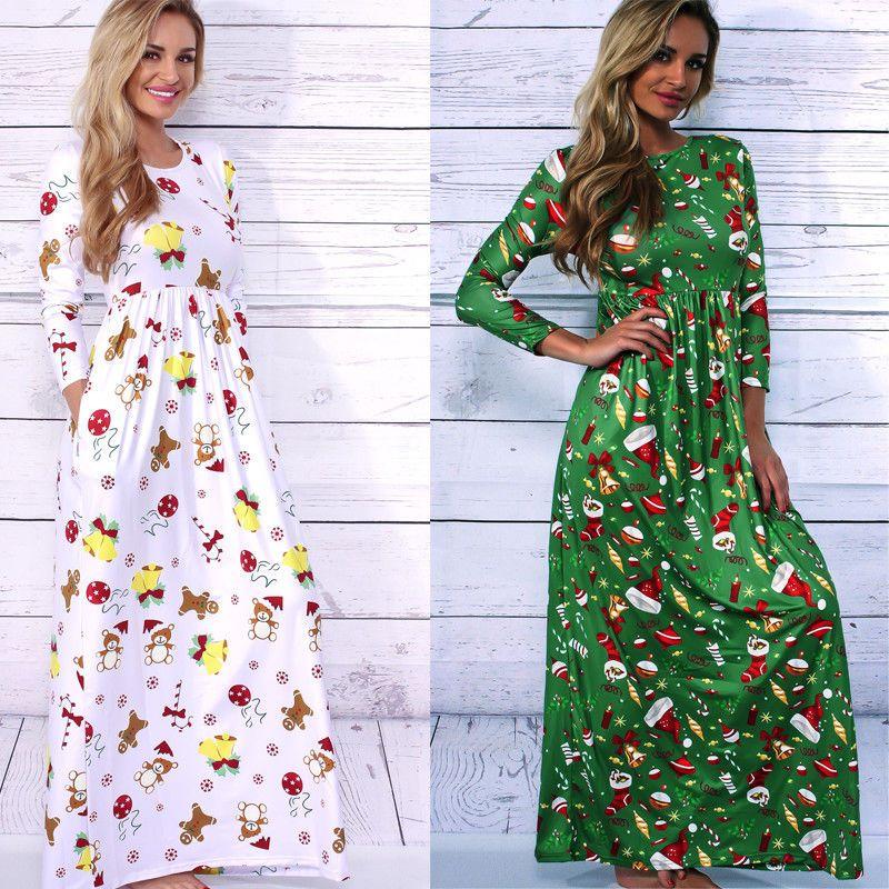731349992f6 Pas cher Dames De Noël Robes À Manches Longues Belle Imprimer Cheville  Longueur Robe Nouvelle Arrivée