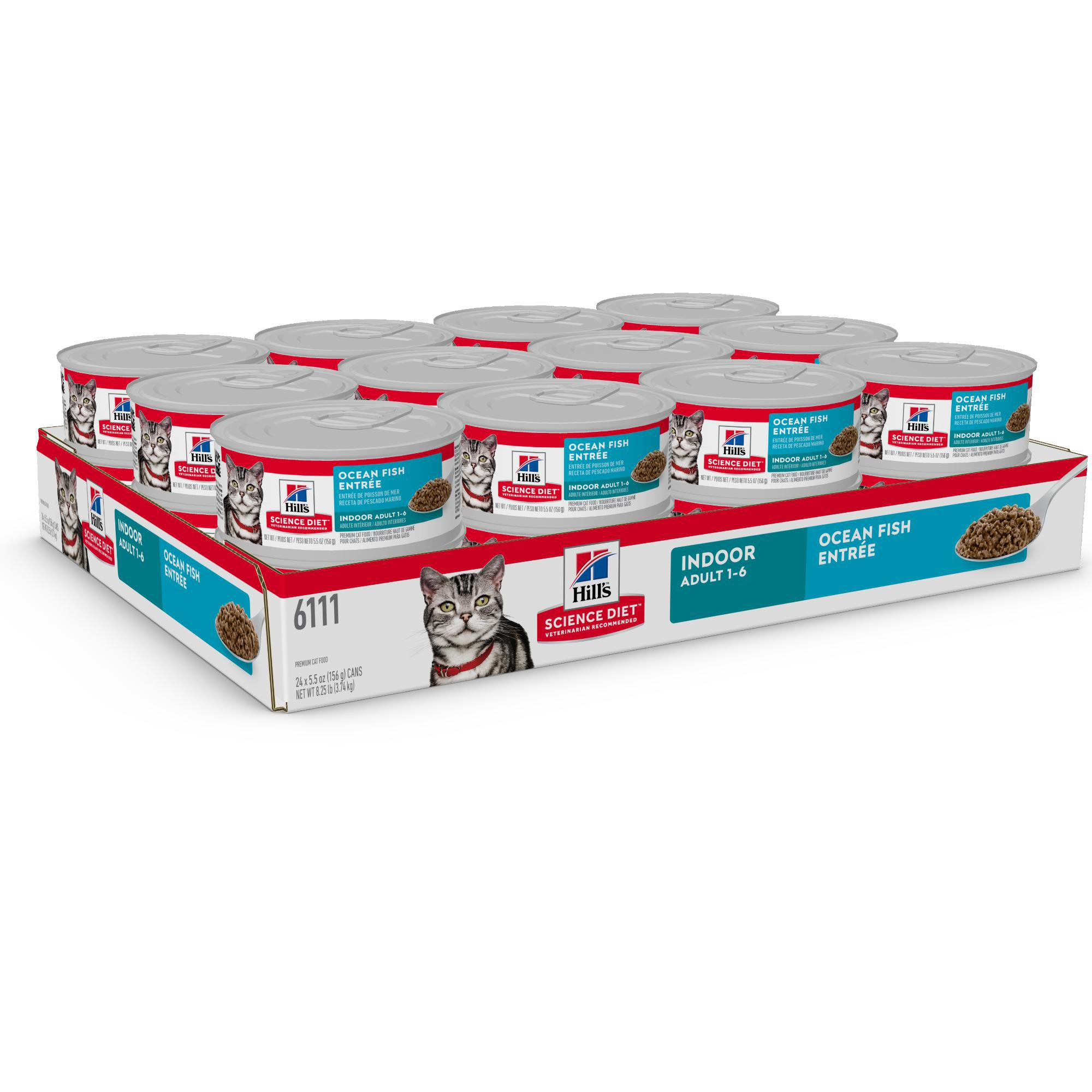 Hill S Science Diet Adult Indoor Ocean Fish Entree Canned Wet Cat Food 5 5 Oz Case Of 24 Canned Cat Food Science Diet Hills Science Diet