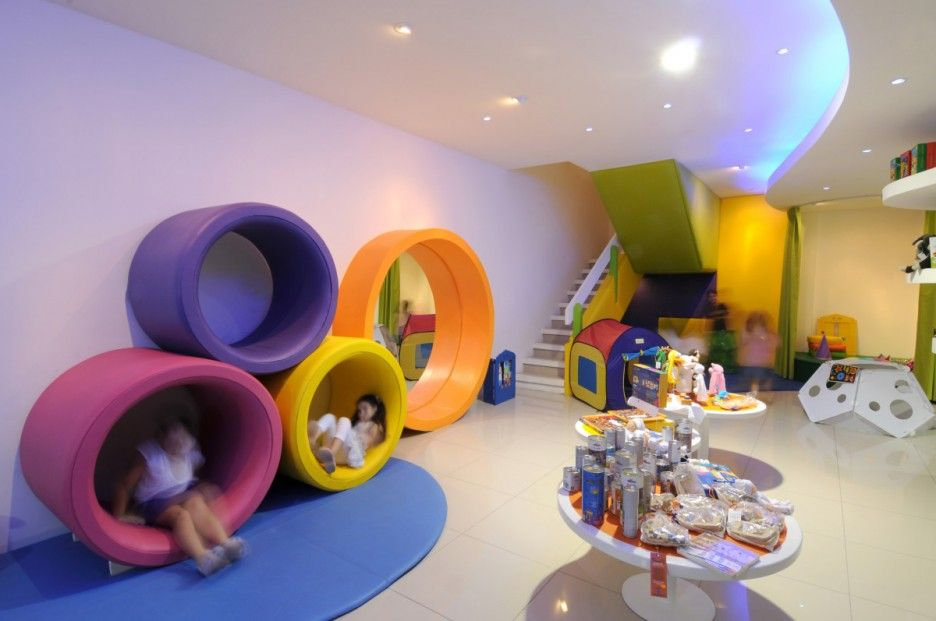 Delightful Contemporary Toy Stores With Stunning Interiors: Colorful Play Floor For  Kids In New Toy Store