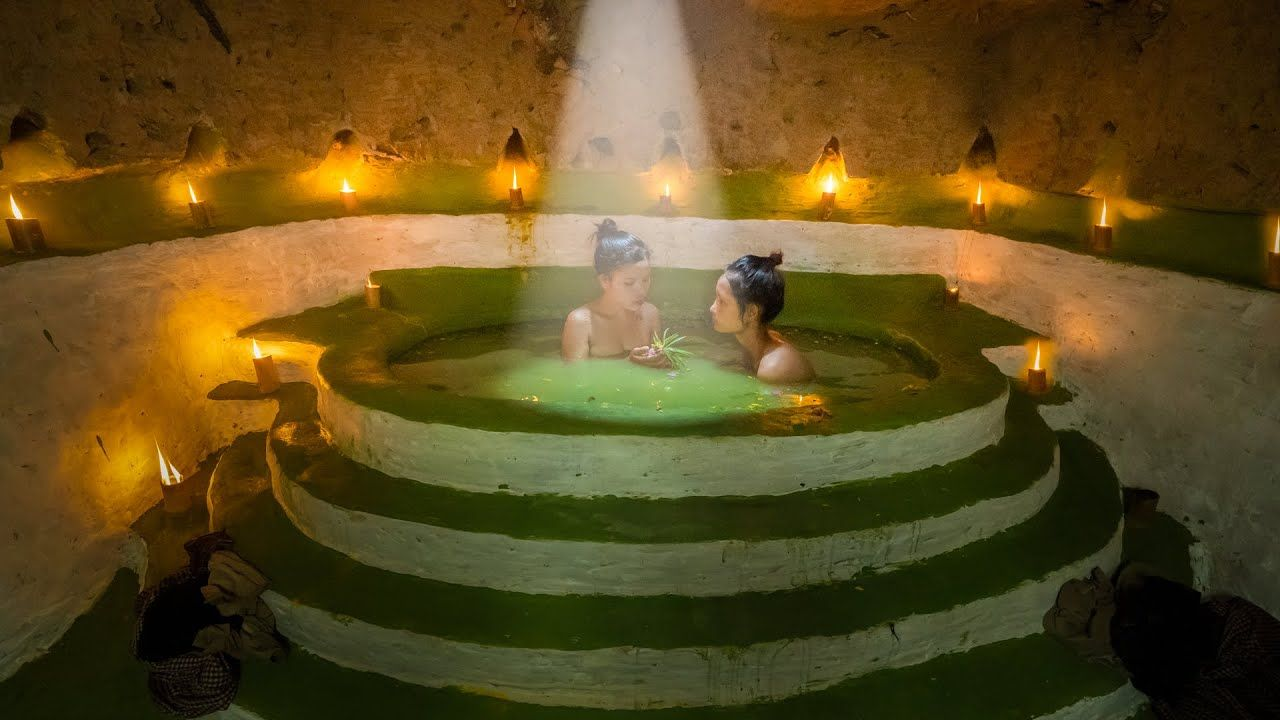 Amazing girls show how to build secret underground pool by