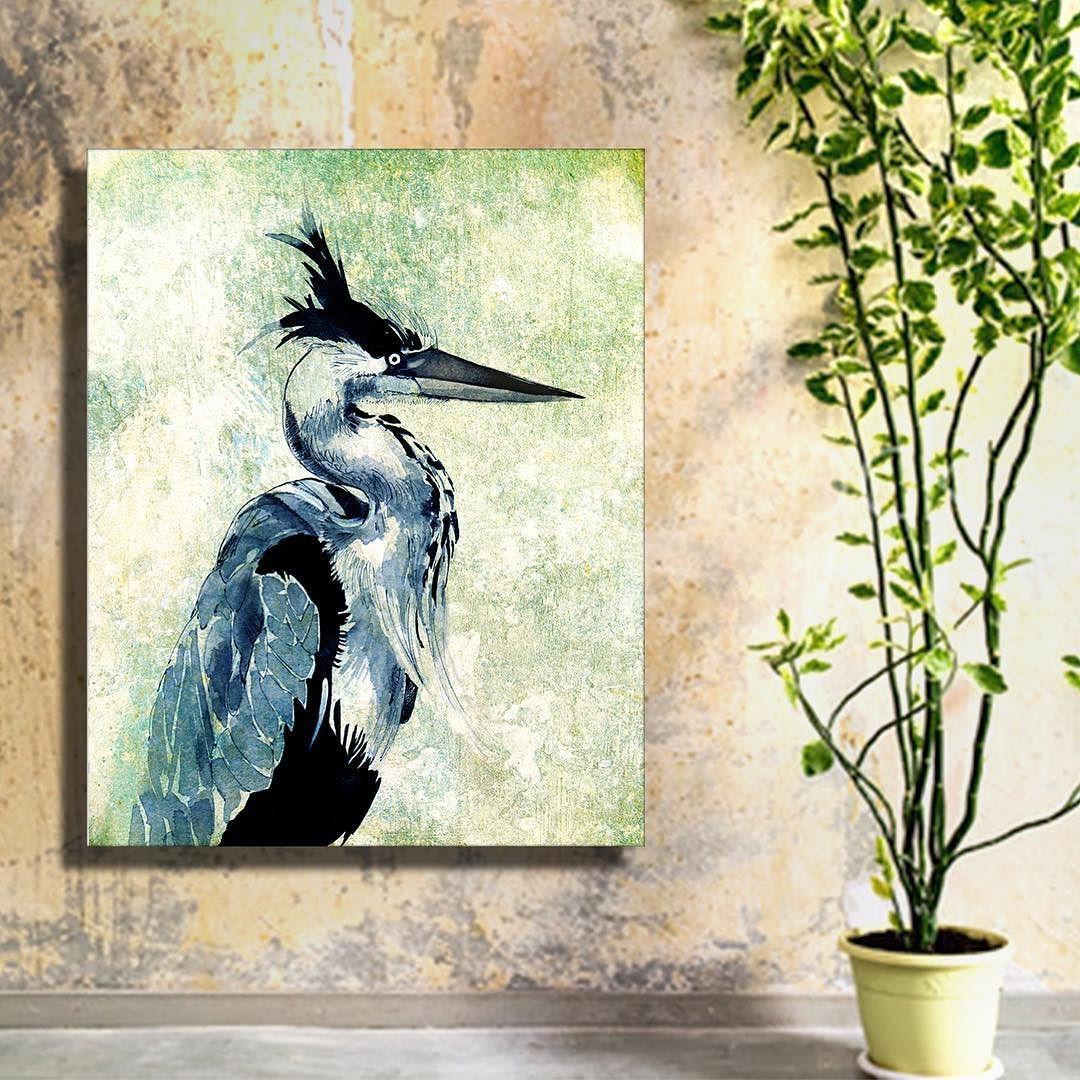 Keep a heron in the bedroom --- #wallart #canvasart #canvaspainting #blueheron #bird #birdart #birdpainting #animalart #animalpainting #ink #inkart #inkpainting #walldecor #homesweethome