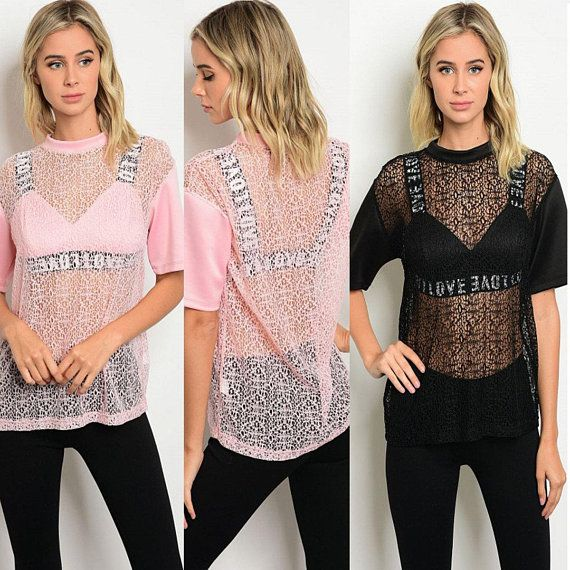f33eb5016f23d Mesh top with bralette insert in black or pink