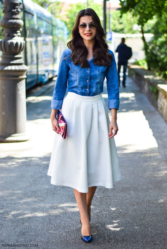 How to wear white midi skirt – People & Styles | Jeans- IN ...
