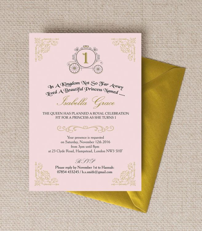 Enchanted Pink & Gold Princess Party Invitation | Party invitations ...