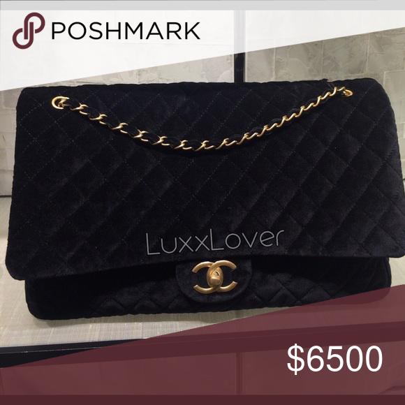 e26334619533 Chanel XXL flap in black velvet New authentic Chanel XXL flap in black  velvet with gold hardware CHANEL Bags Travel Bags