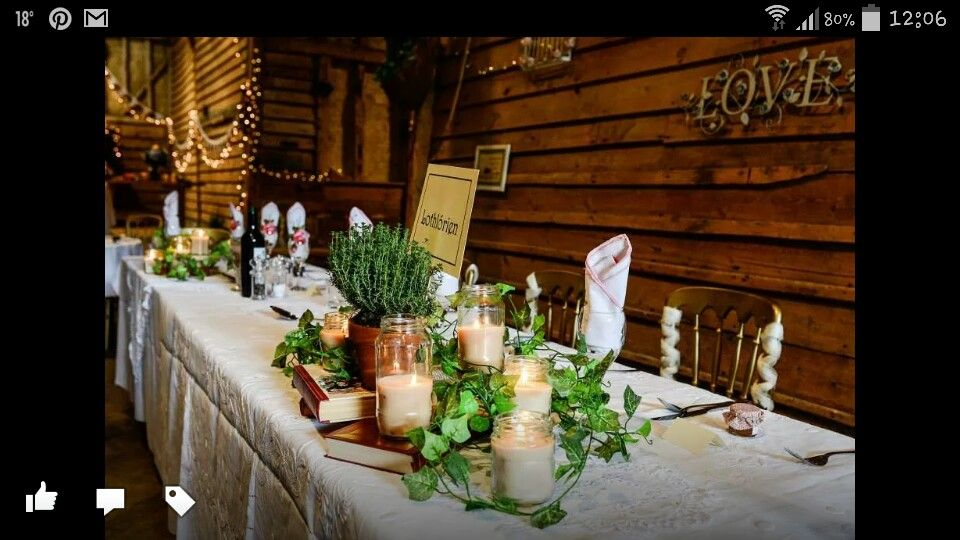 Natural centrepieces at our wedding. Homemade jar candles, vintage books and herbs