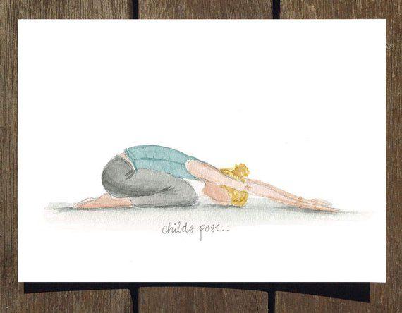 Child S Pose Blank Yoga Pose Greeting Card Yoga Card Blank