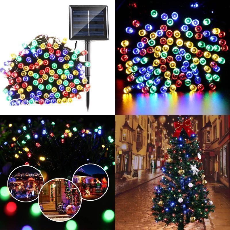 Outdoor Christmas Lights 72ft 200 LED 8 Lighting Modes Solar String