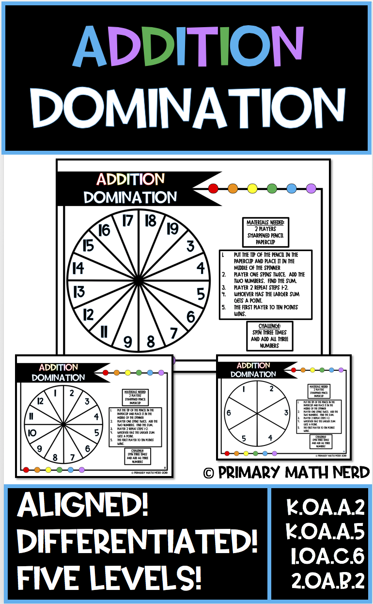Addition Domination Spinner Game Aligned Differentiated 5 Levels Differentiated Math Centers Math Centers Math Resources [ 1246 x 770 Pixel ]