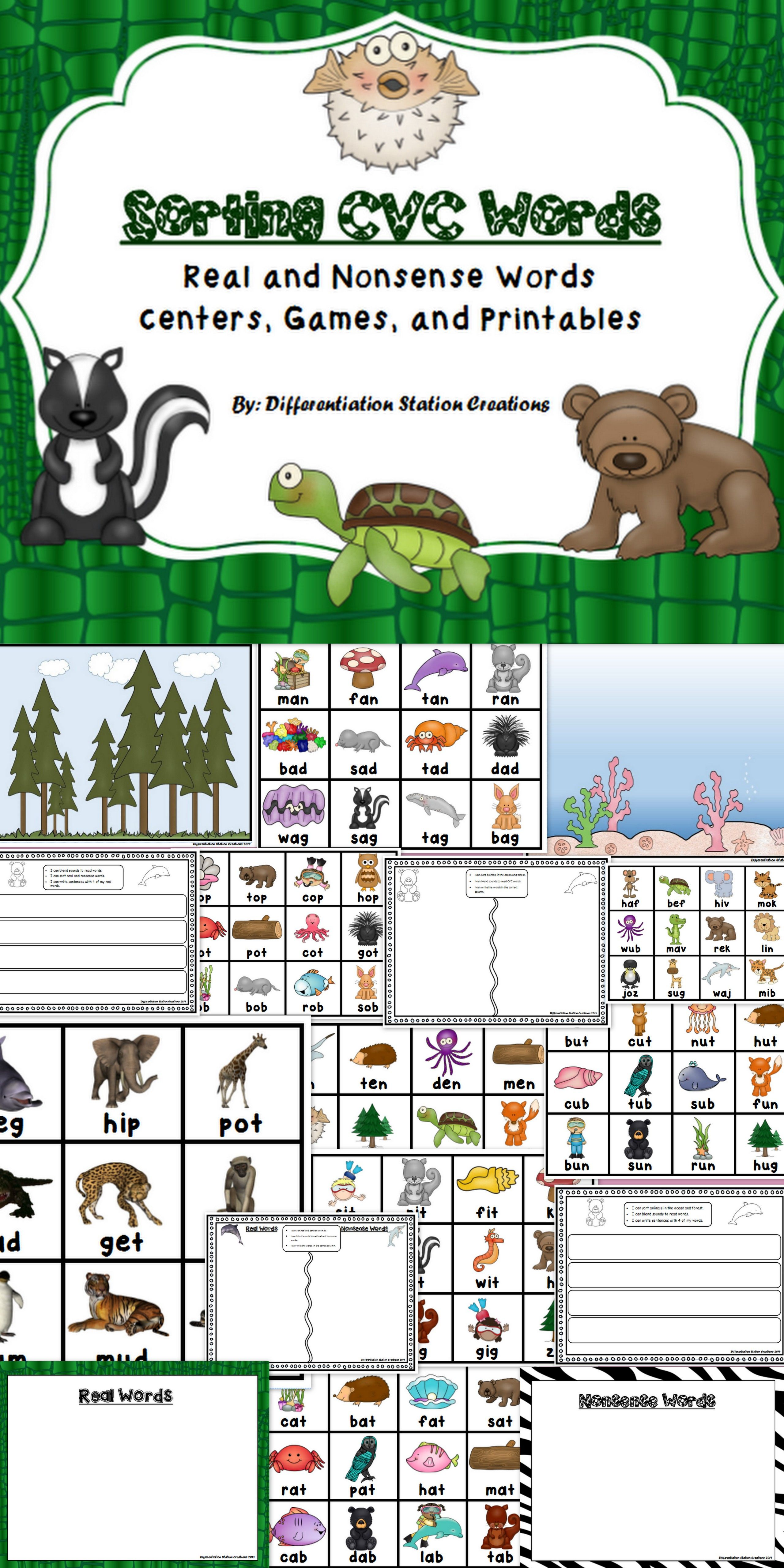 Sorting Real And Nonsense Cvc Words Centers Games And Printables