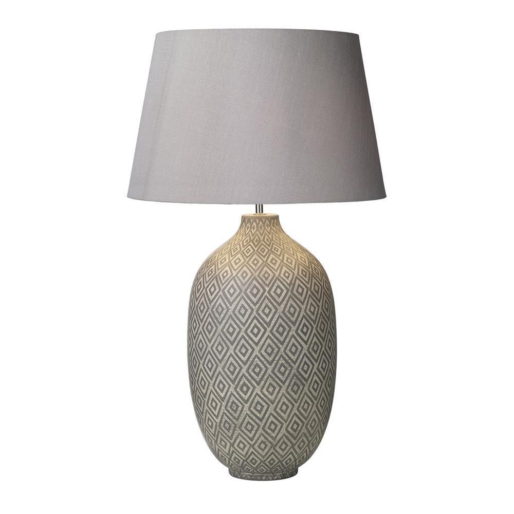 Ceyda Table Lamp Ceramic & Grey Base Only Geometric