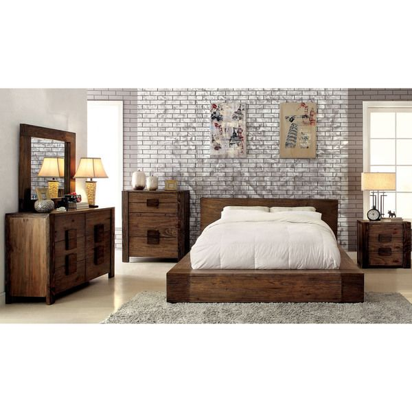 Furniture of America Shaylen I Rustic Natural Tone Low Profile Bed ...