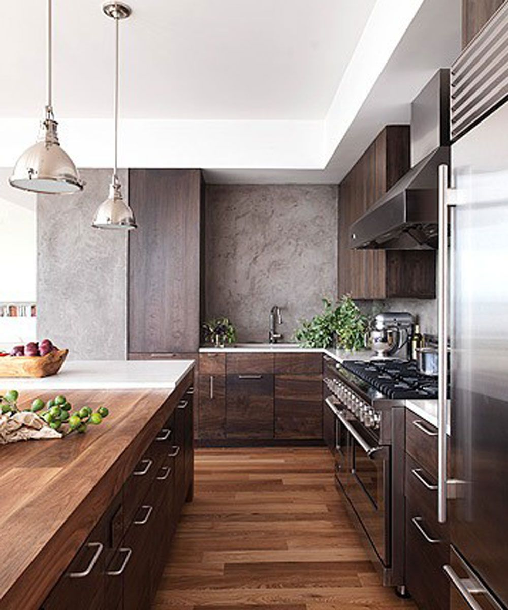 Kitchen wood floors dark wood cabinets crisp white ceiling and