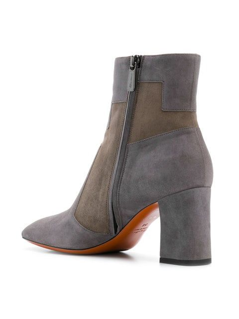5a75e1f764 ShopStyle Collective Grey suede two tone ankle boots from Santoni featuring  a high ankle, a side zip fastening, a two tone design, a round toe and a  chunky ...
