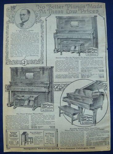 Grand Pianos Musical Instruments Original Vintage Antique 1920's Wards Ad | eBay