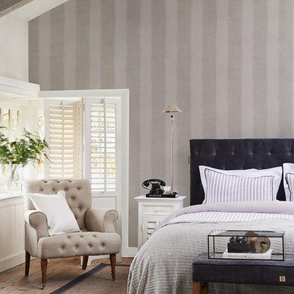 Riviera Maison Tapete Anvers Linen Stripe Silver Grey im - retro tapete wohnzimmer