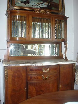 Antique-French-Marble-Top-Vitrine-Display-China-Cabinet-Server