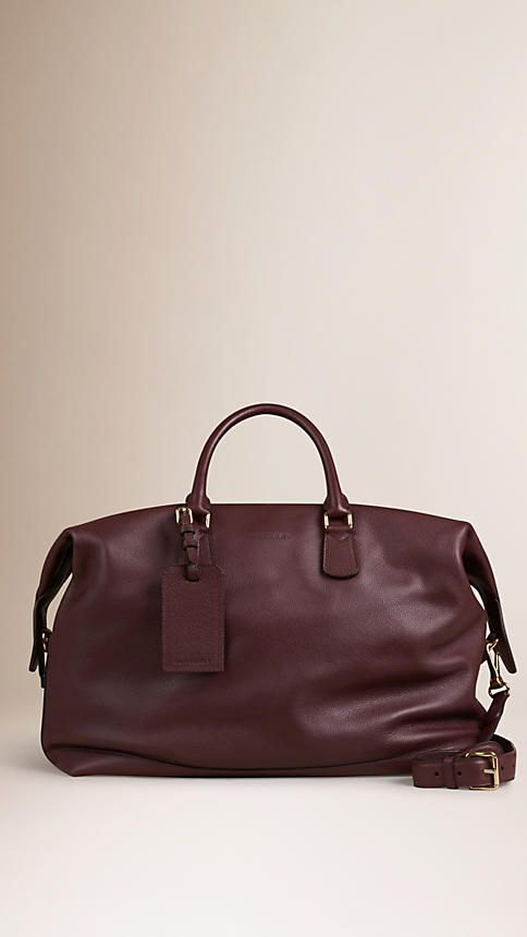 4b67ef7c3f58 burberry grainy leather holdall in mahogany red -- beautiful burgundy overnight  bag
