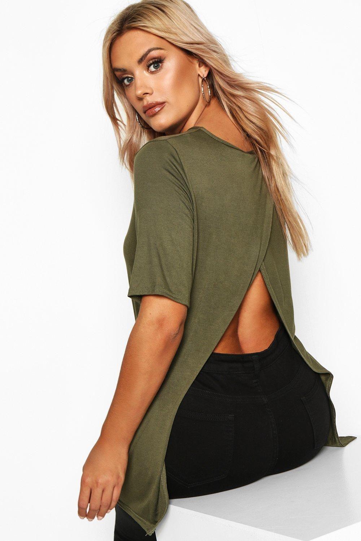 Plus Jersey Split Open Back T Shirt Boohoo Fashion Plus Size Tops Trend Setting