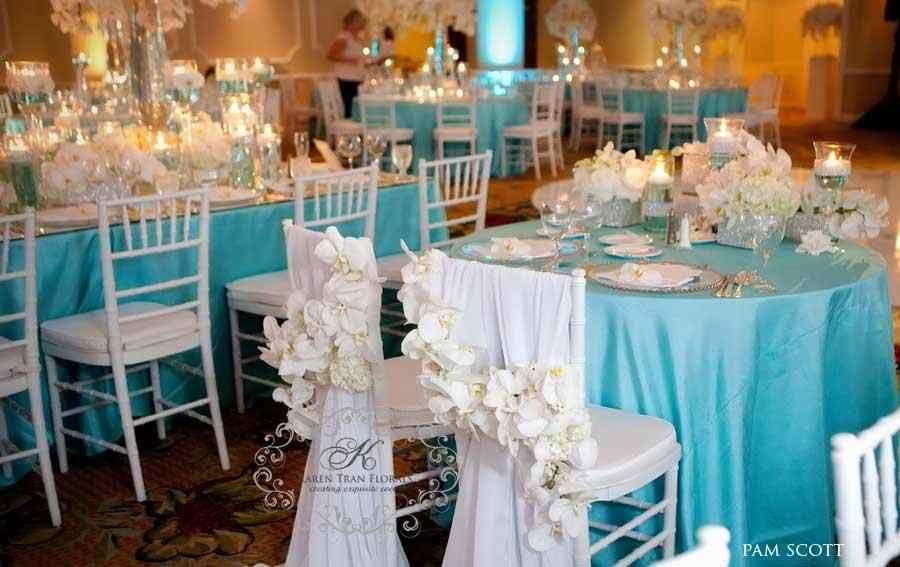 Glam Tiffany Blue Wedding Reception Venuedecorationidea Luxe
