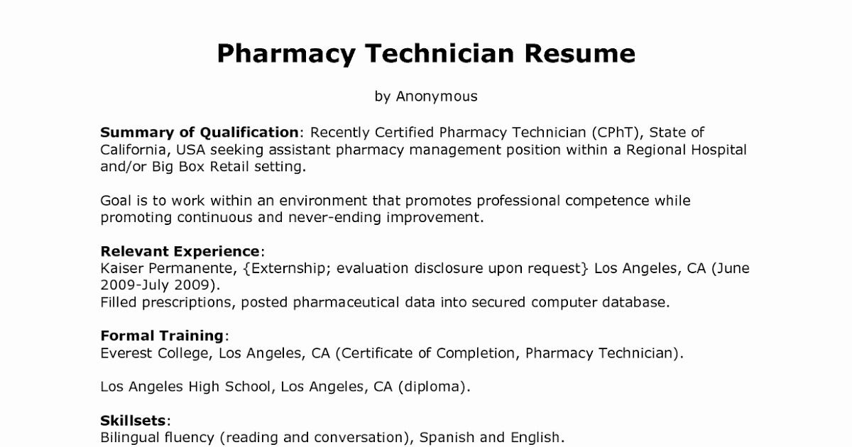 Hospital Pharmacy Technician Resume Fresh Sample Resume