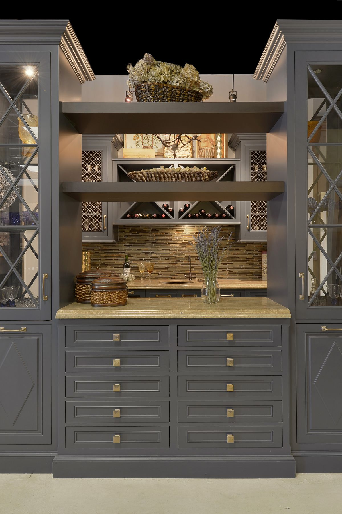 Fully custom blue painted Wood-Mode cabinets with brass ...