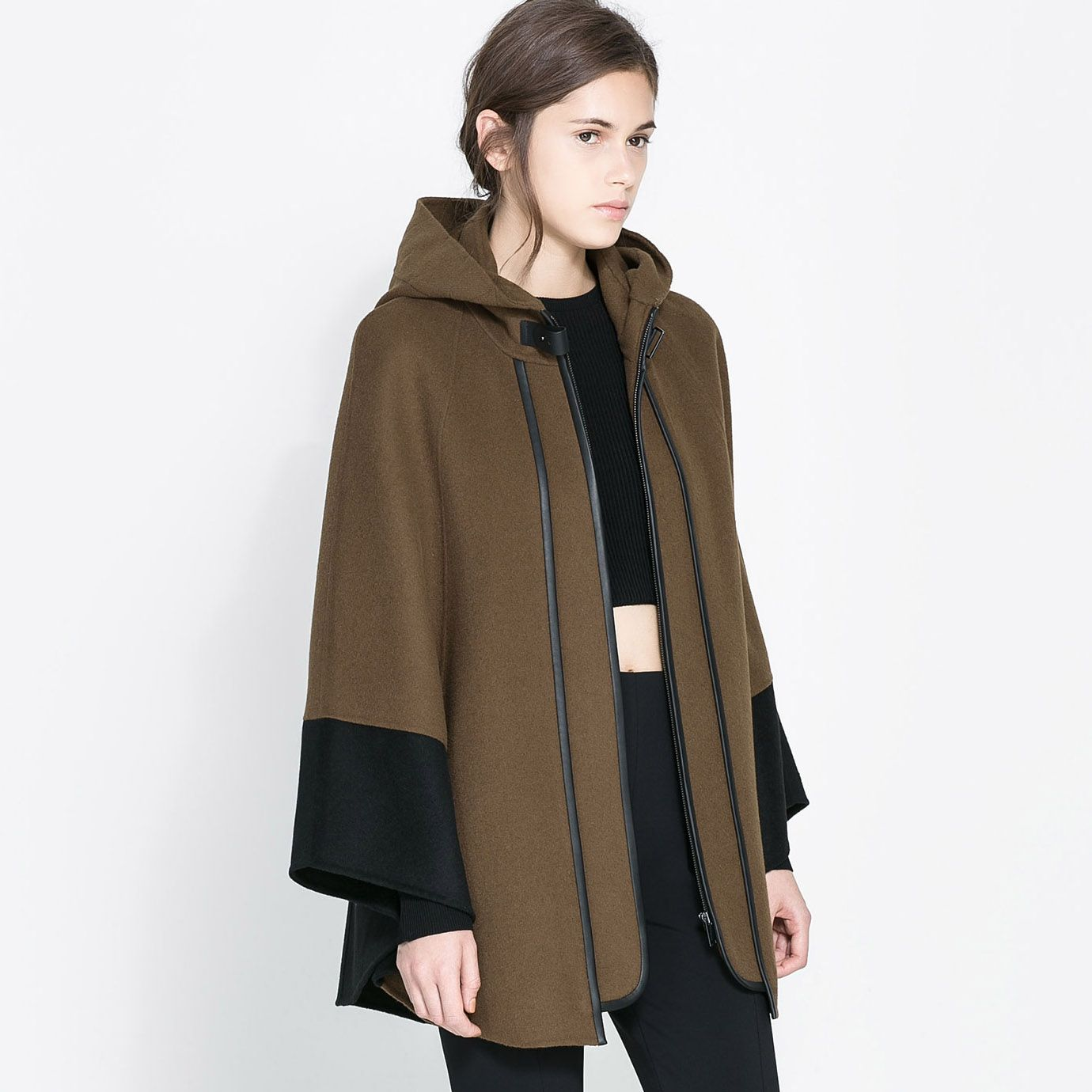 Pretty Loose Hooded Zipper Bicolor Joint Women's Cape Coat