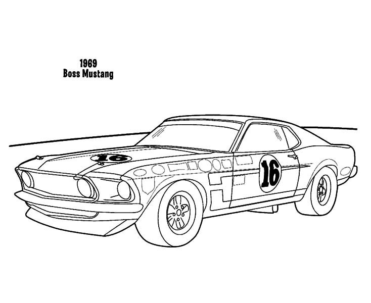 1969 Boss Mustang Car Coloring Pages Best Place To Color Cars Coloring Pages Mustang Cars Cartoon Car Drawing