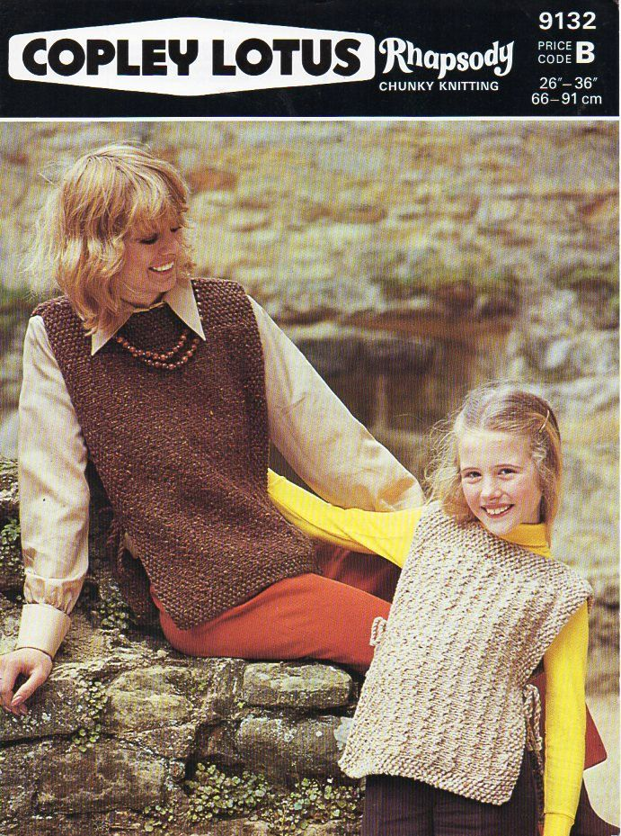 1641eb8334982 ladies tabard knitting pattern pdf womens chunky tunic Vintage 70s 26-36  inch chunky bulky 12ply Instant Download by coutureknitcrochet on Etsy
