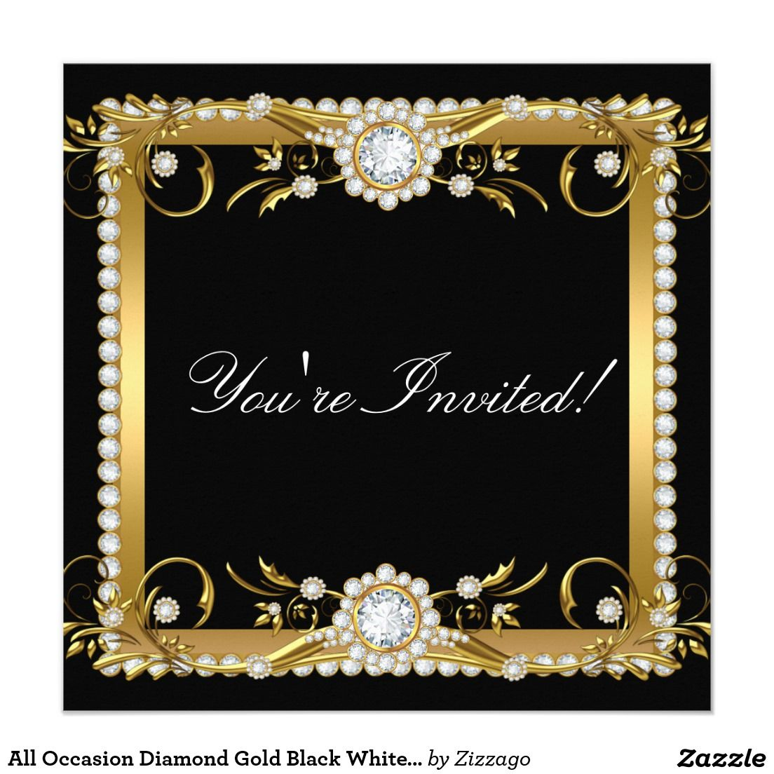 All Occasion Diamond Gold Black White Floral Party Invitation   Zazzle.com  (With images)   Party invitations, Birthday party invitations, Bridal  shower party invitations