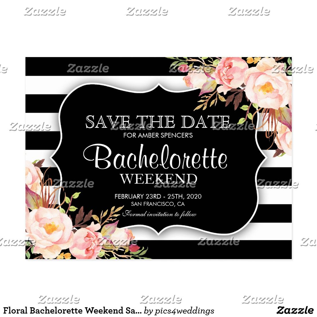 floral bachelorette weekend save the date announcement postcard