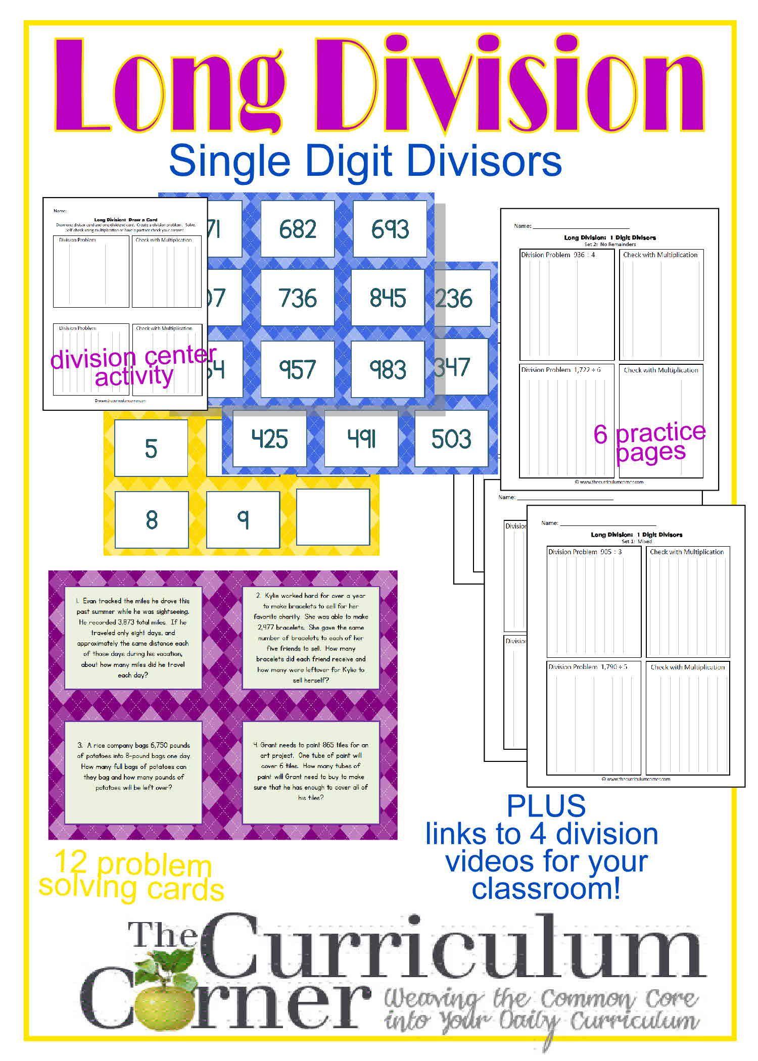 Long Division Resources 1 Digit Divisor