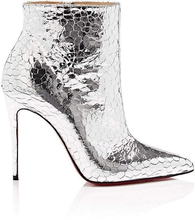 46faced4a14 Christian Louboutin Women s So Kate Craquelé Leather Ankle Boots Silver  Metallic Booties
