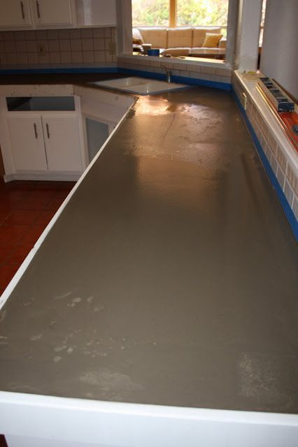 Remodelaholic Quick Install Of Concrete Countertops Over Existing Tile Countertop Kitchen Remodel
