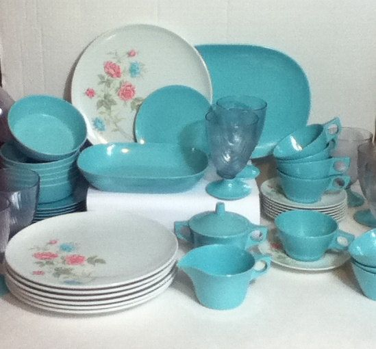 Vintage 50 PIECE SET Texas Ware Dinnerware Set with Serving Pieces Aqua and Pink Floral Design on Dinner Plates and Saucers | Vintage Pink and Aqua & Vintage 50 PIECE SET Texas Ware Dinnerware Set with Serving Pieces ...