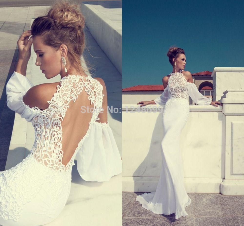 Cheap wedding dresses with sleeves  BeachWeddingDressesCrewLongSleeveRoundBackChiffonwith