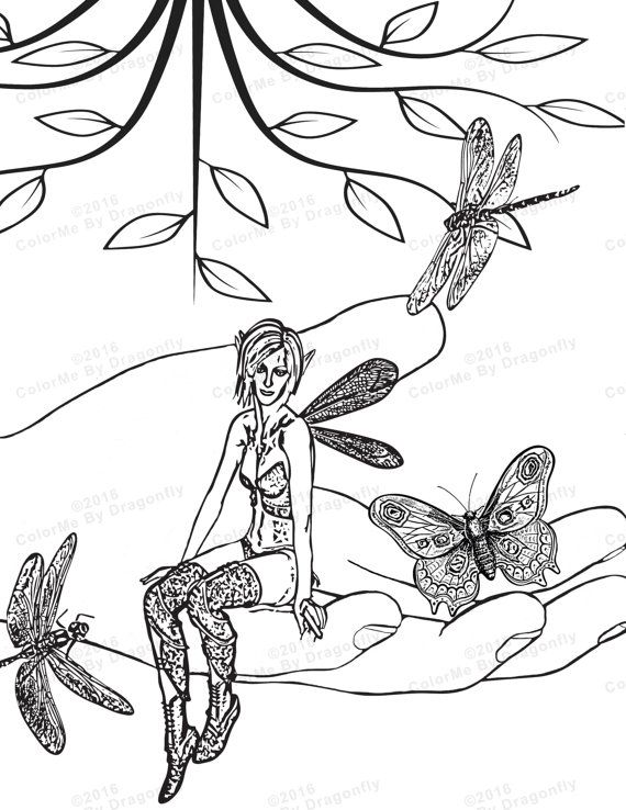 Woodland Fairy Coloring Page Wings Fantasy Faerie Dragonfly Art Butterfly