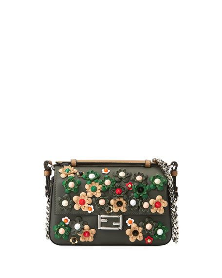 c232342a9c Micro Baguette Double-Sided Floral-Studded Shoulder Bag FENDI ...