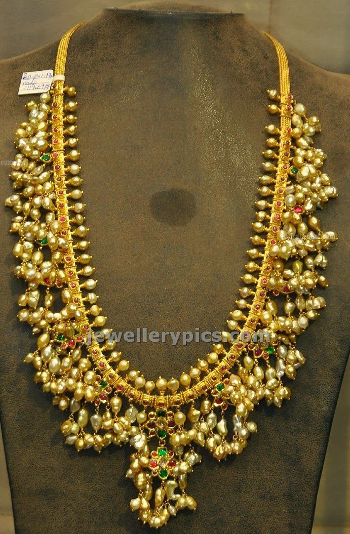 Traditional Gutta Pusalu Chain By Shiny Fresh Water Pearls