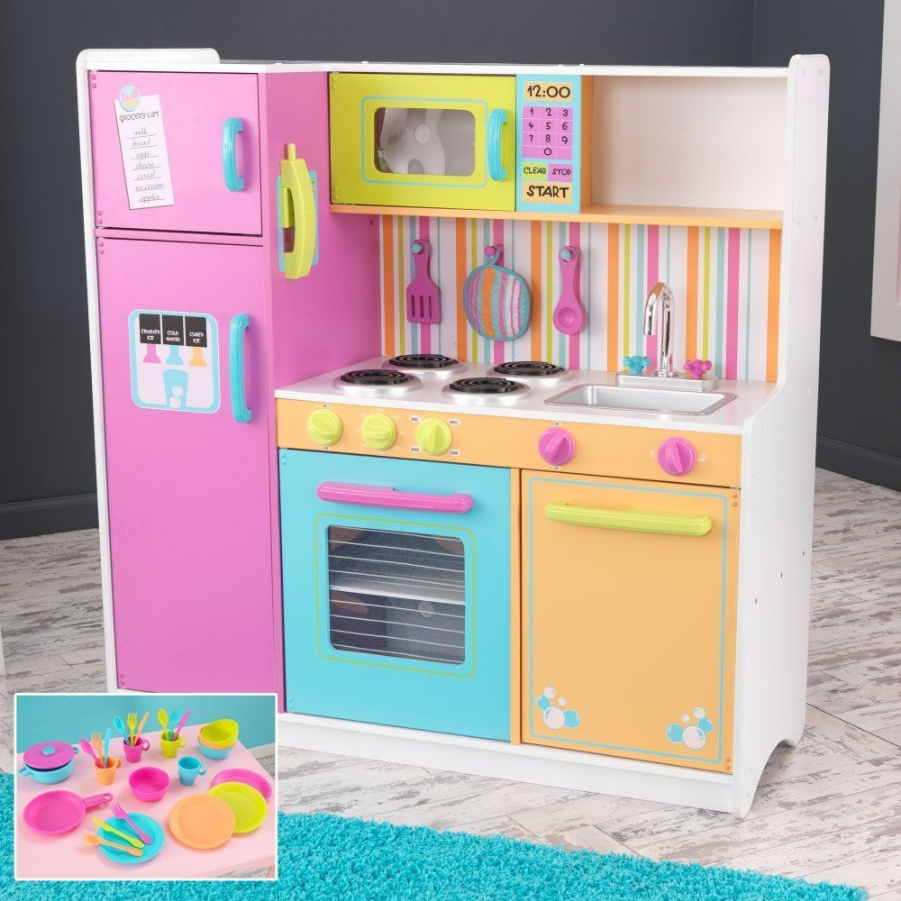 KidKraft Big & Bright Kids Pretend Play Toy Kitchen w/ 27